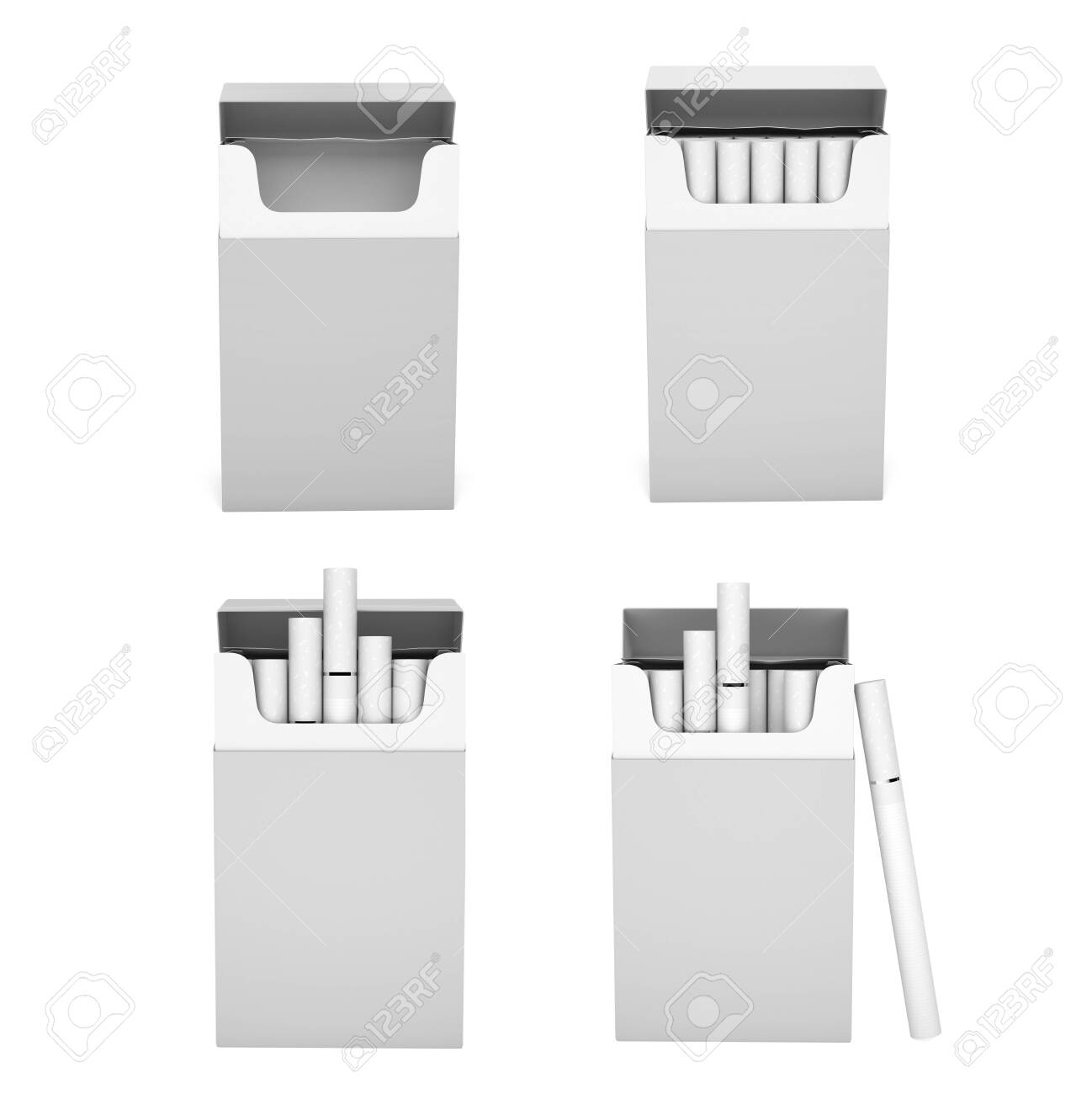 White blank packs of cigarettes. With white filter. 3d rendering illustration isolated on white background - 150525978