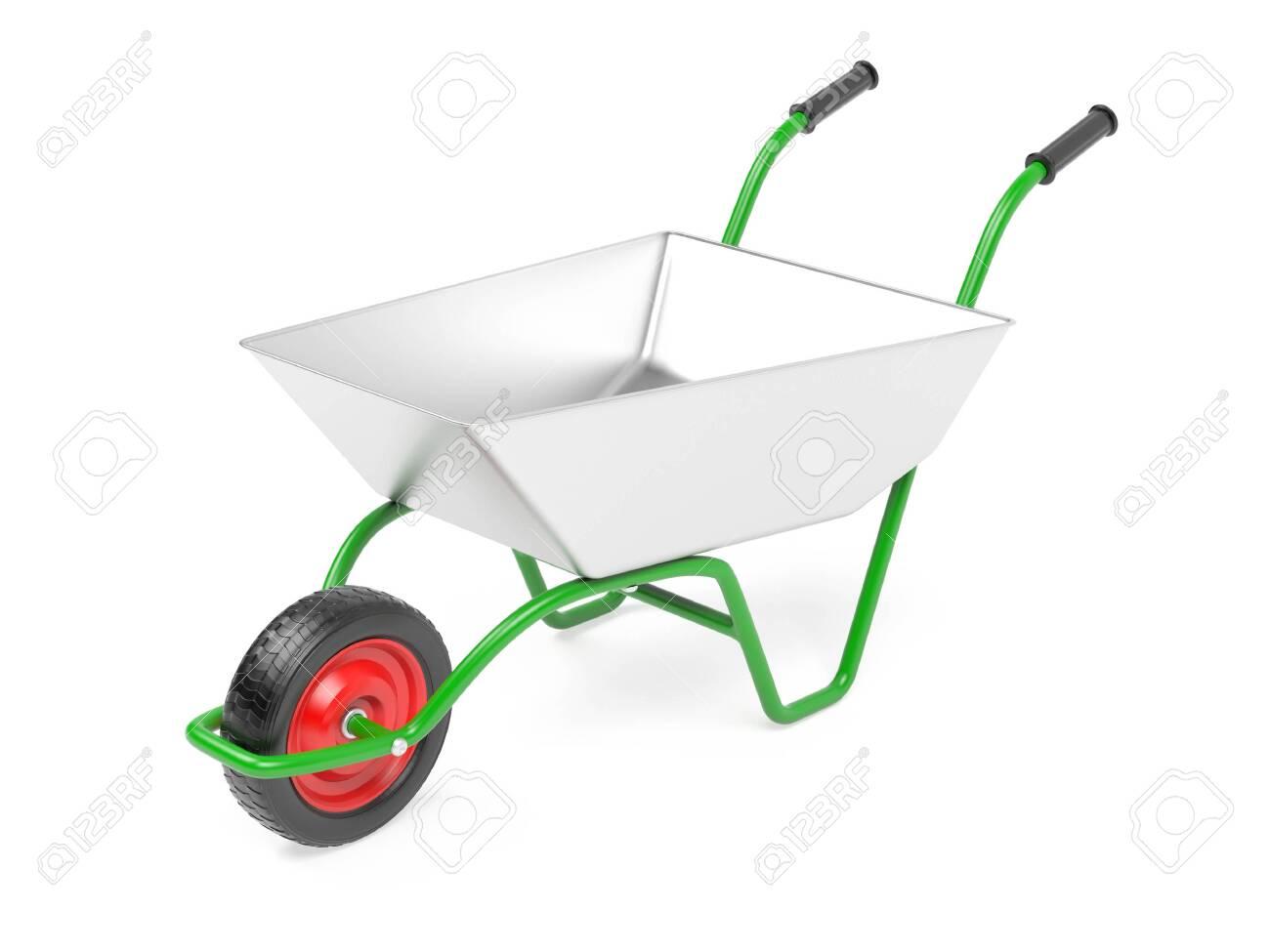 Garden barrow on one wheel. 3d rendering illustration isolated on white background - 150524457