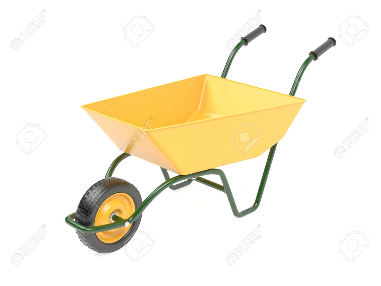 Yellow garden barrow. 3d rendering illustration isolated on white background - 150525425
