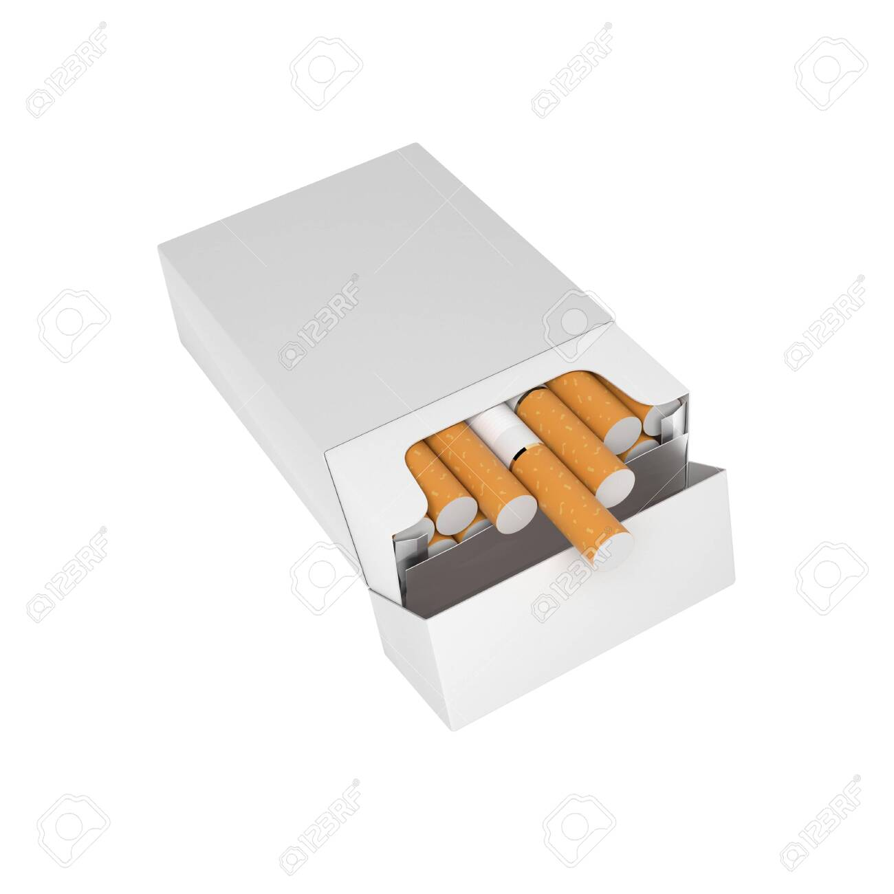 White blank pack of cigarettes. With brown filter. 3d rendering illustration isolated on white background - 150524886