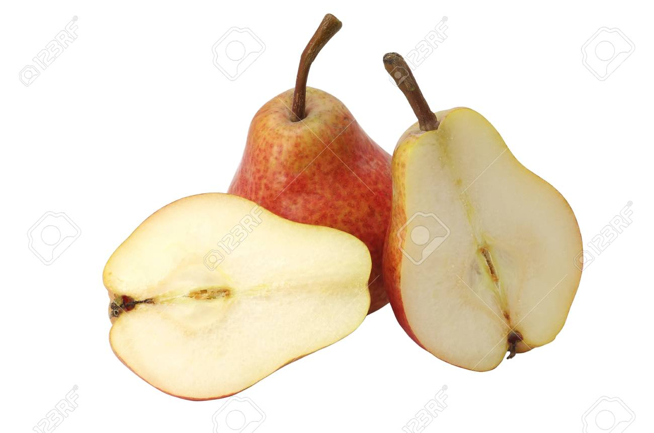 Sliced pear on a white background Stock Photo - 13403174
