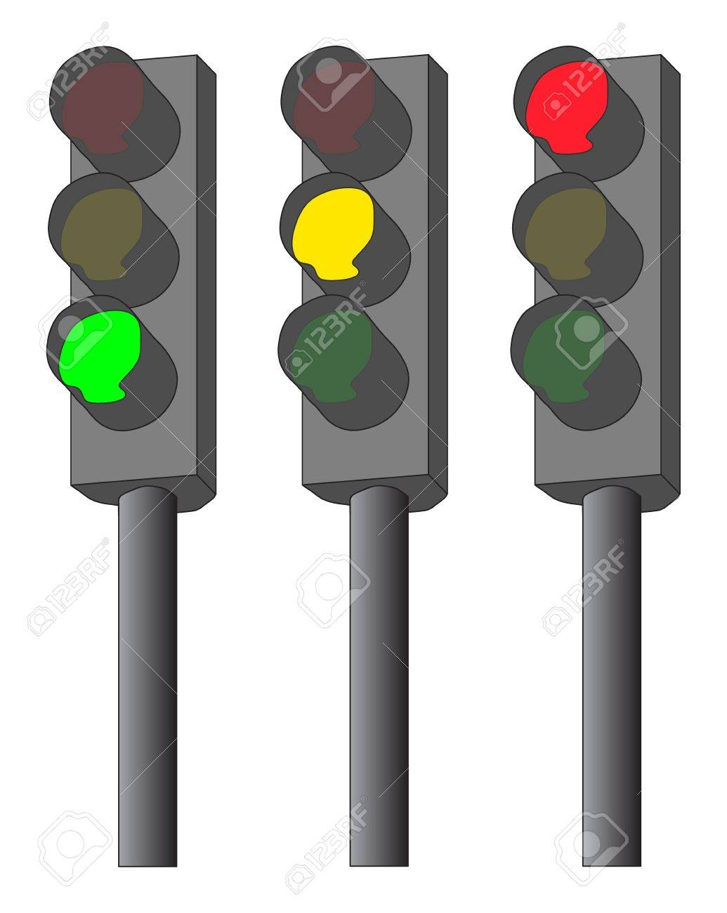 Traffic lights illustration  green, yellow and red Stock Vector - 14487274