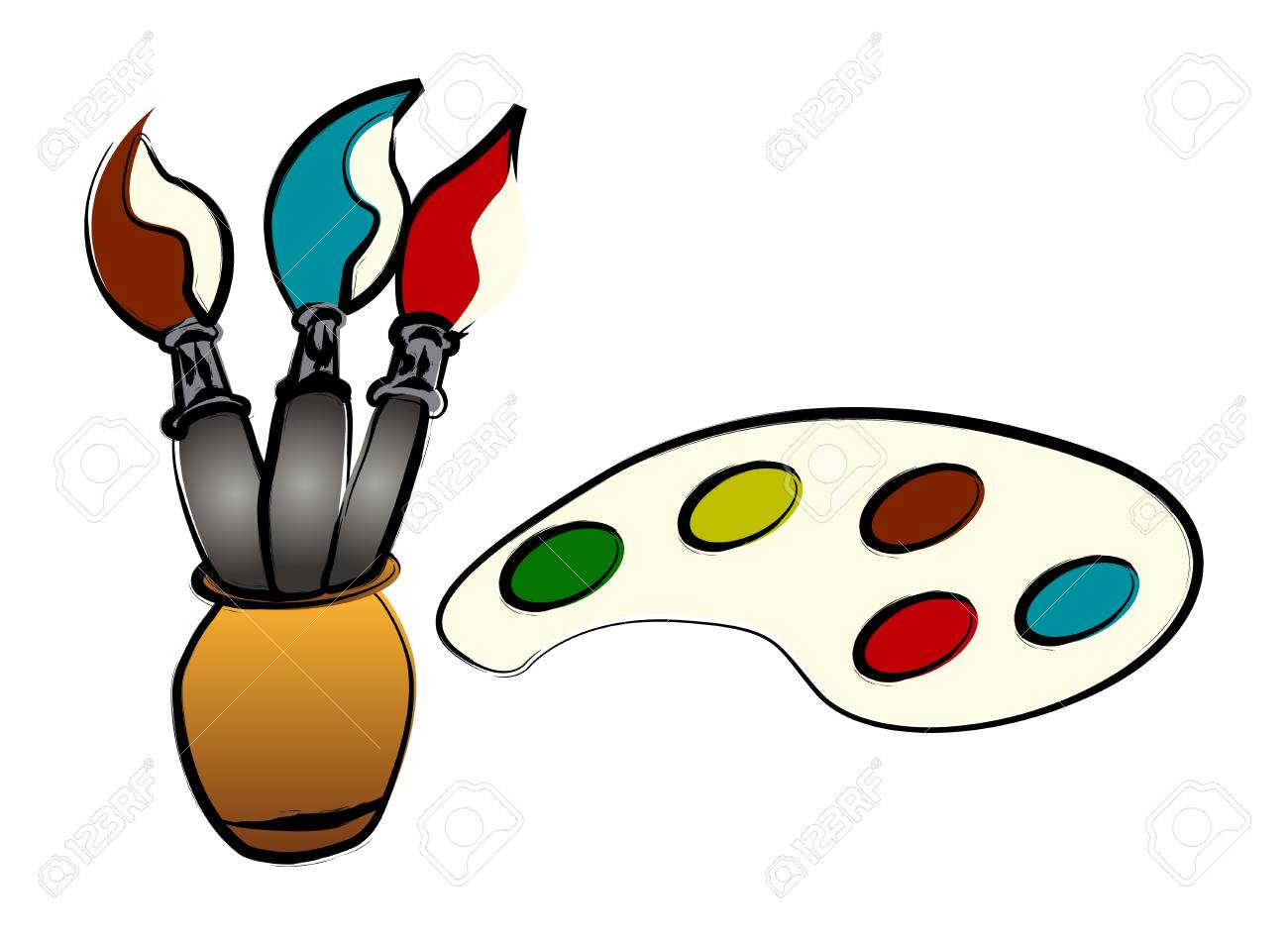 Brushes and paints illustration, over white Stock Vector - 14487293