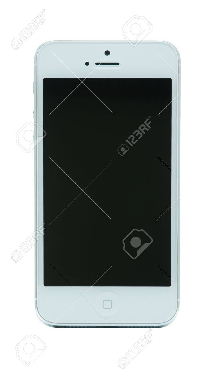 Piatra Neamt, Romania - December 03, 2012: New iPhone 5 by Apple, isolated on white at Apple Days Stock Photo - 16769439