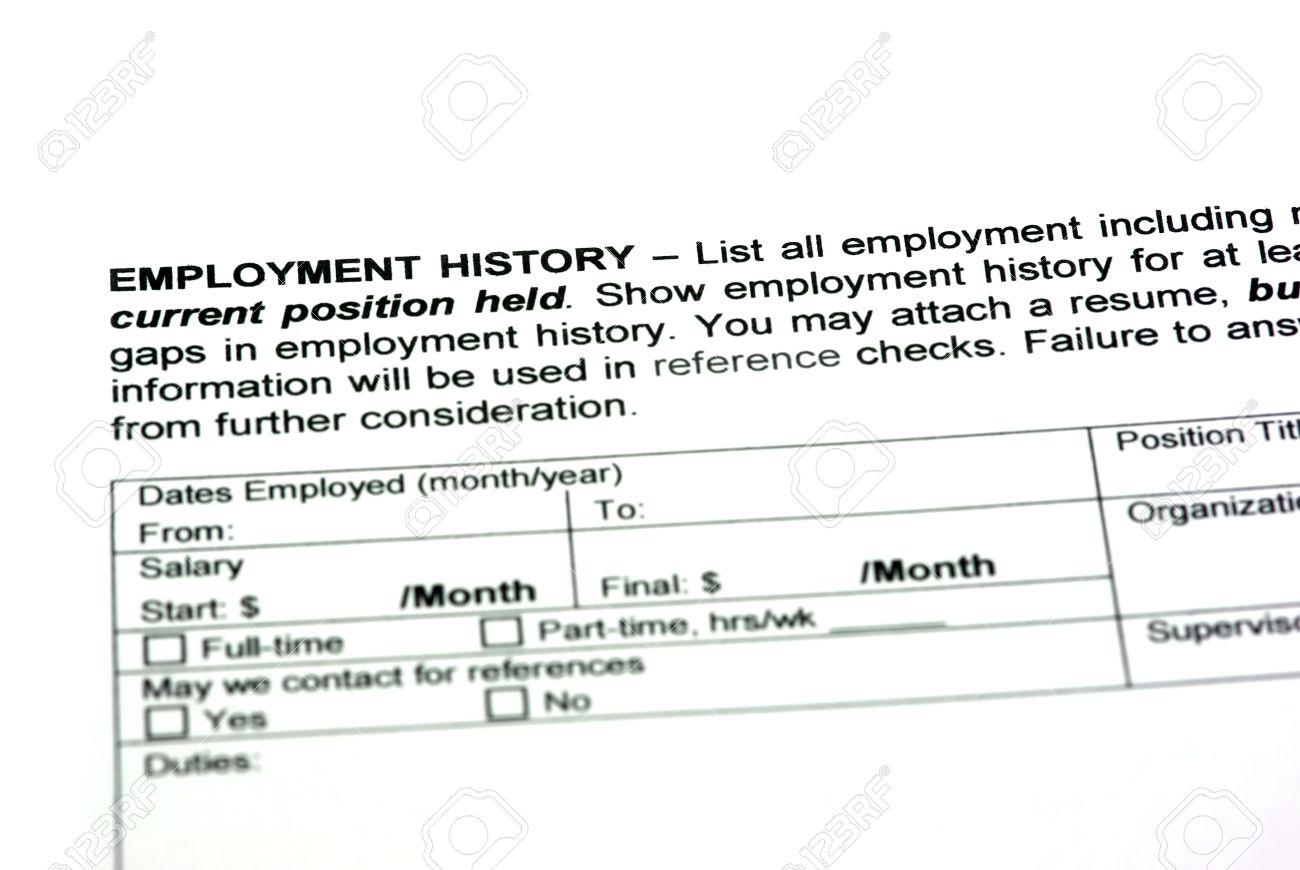 employment history on a empty job application stock photo picture employment history on a empty job application stock photo 25007039