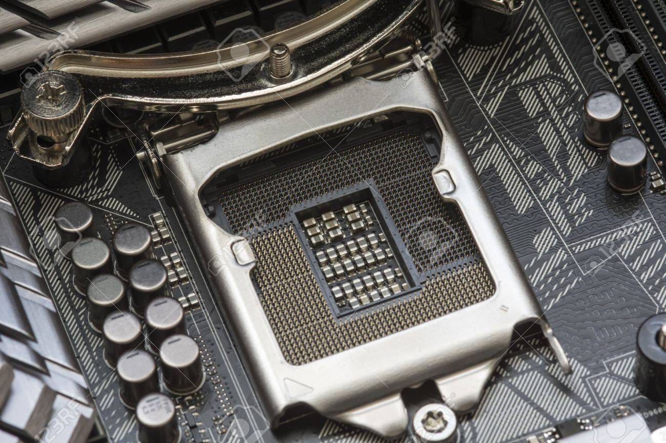 Intel LGA 1151 cpu socket on motherboard Stock Photo - 51660986