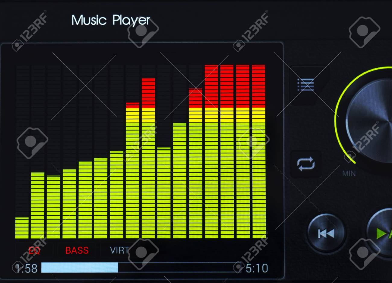 Close-up of color graphic equalizer of music player