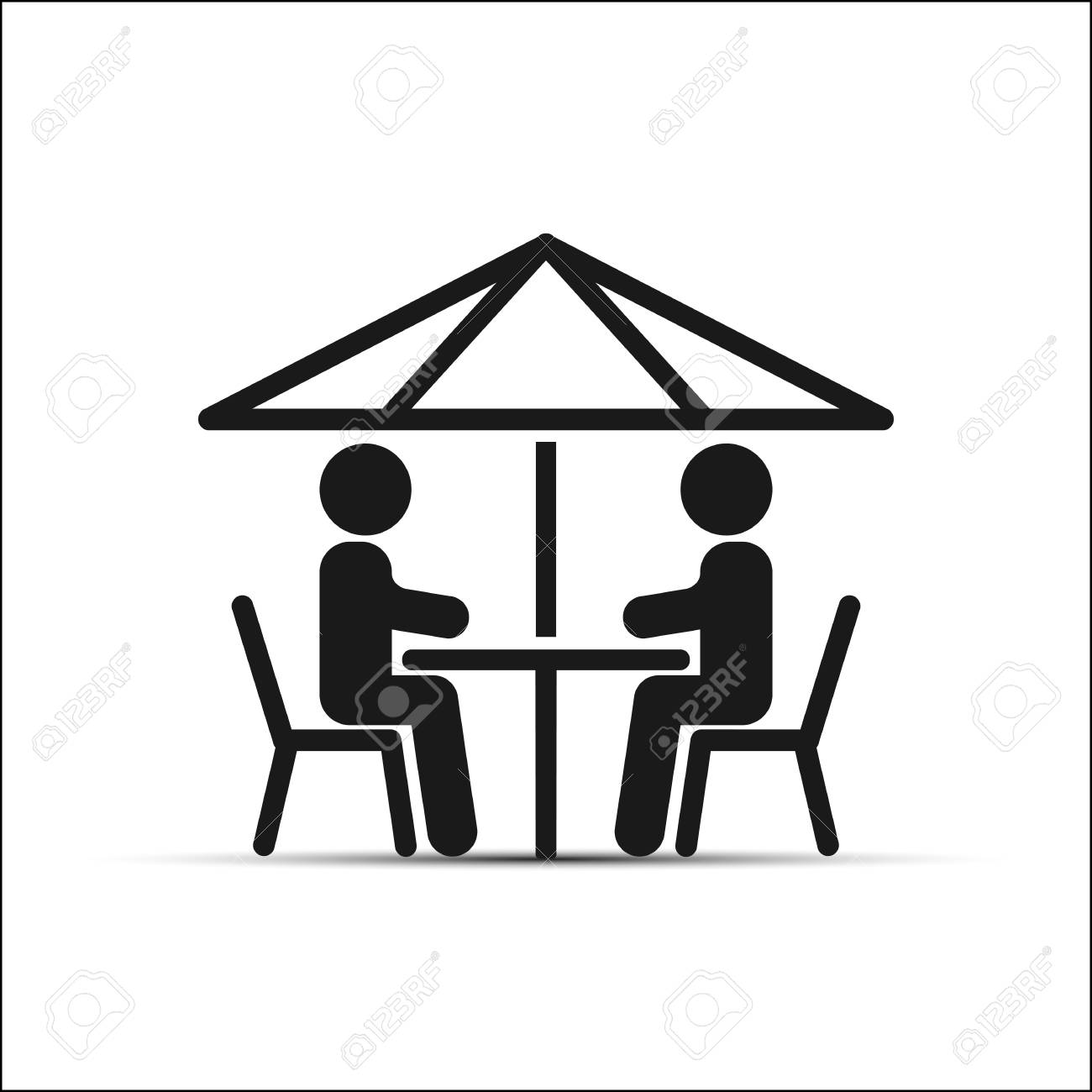 Simple Drawing Two People Sitting At A Table Under An Umbrella
