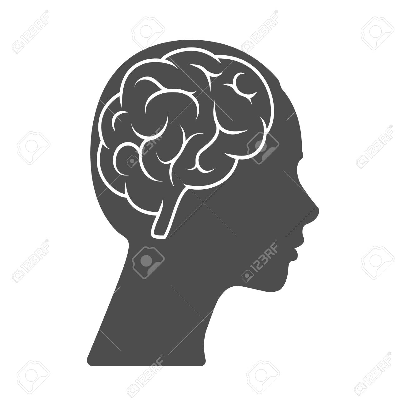 Vector icon of a female head with a brain. The silhouette is isolated on a white background. Simple design - 145856946