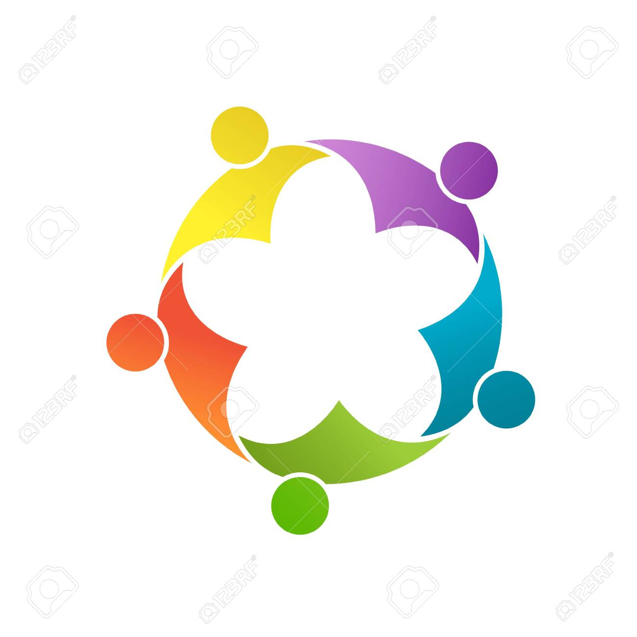 Teamwork, social community, or a group of friends. Vector illustration for banners stickers and clothing, isolated on a white background - 151693738