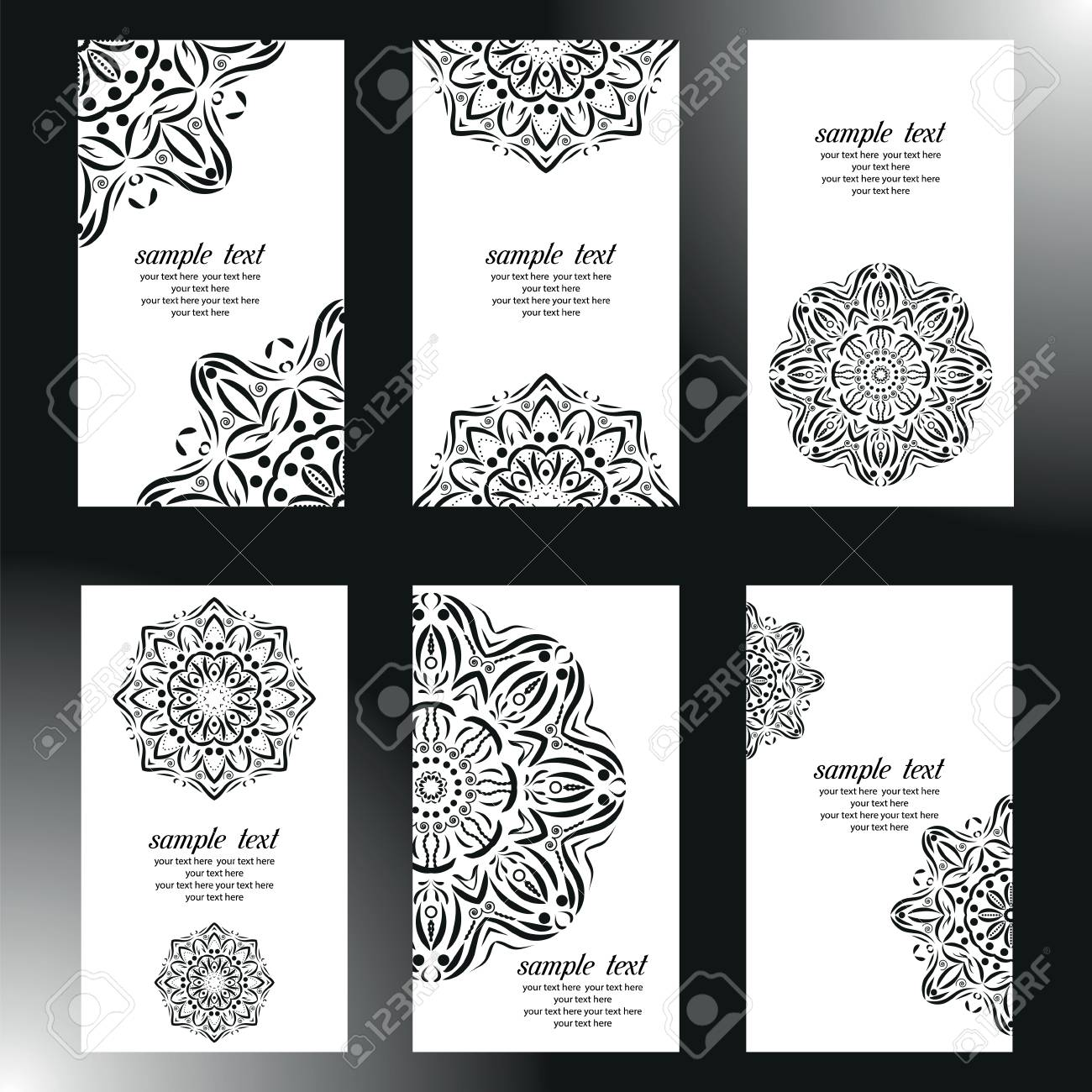 Set Of Business Card And Invitation Card Templates With Lace