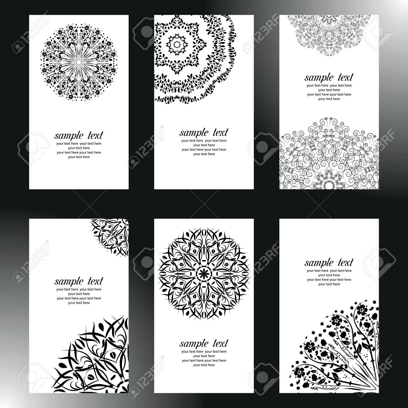 Set Of Business Card And Invitation Card Templates With Lace ...