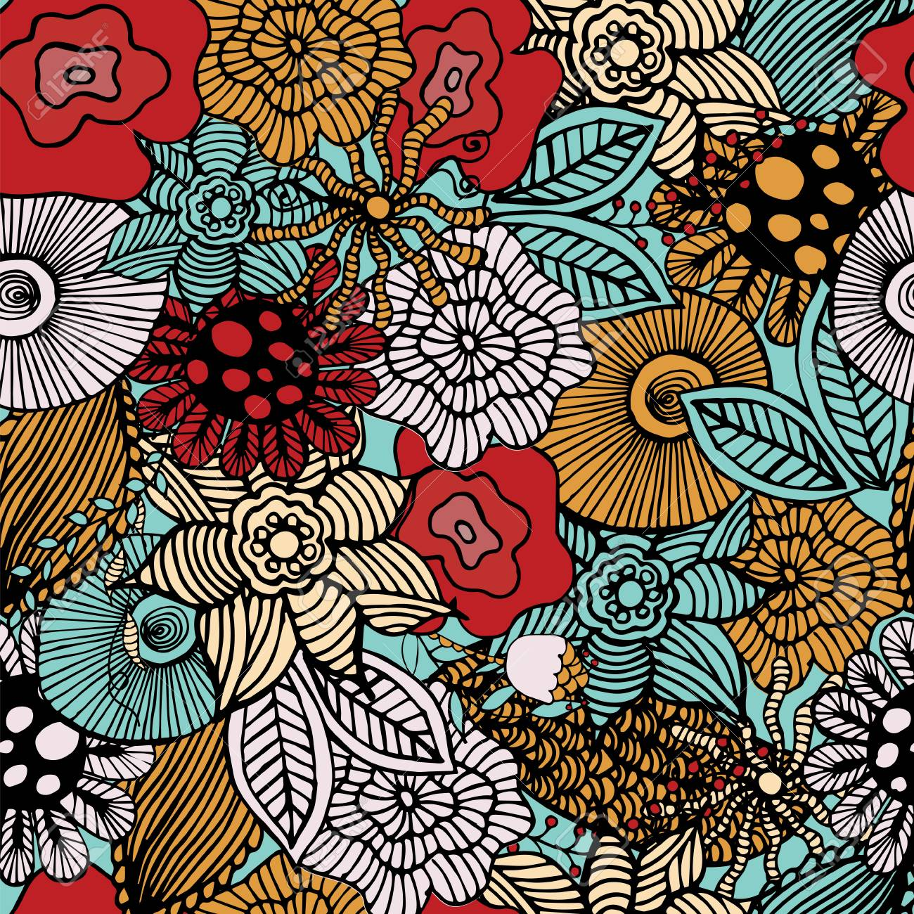 Botanic Texture Detailed Flowers Illustrations Doodle Style
