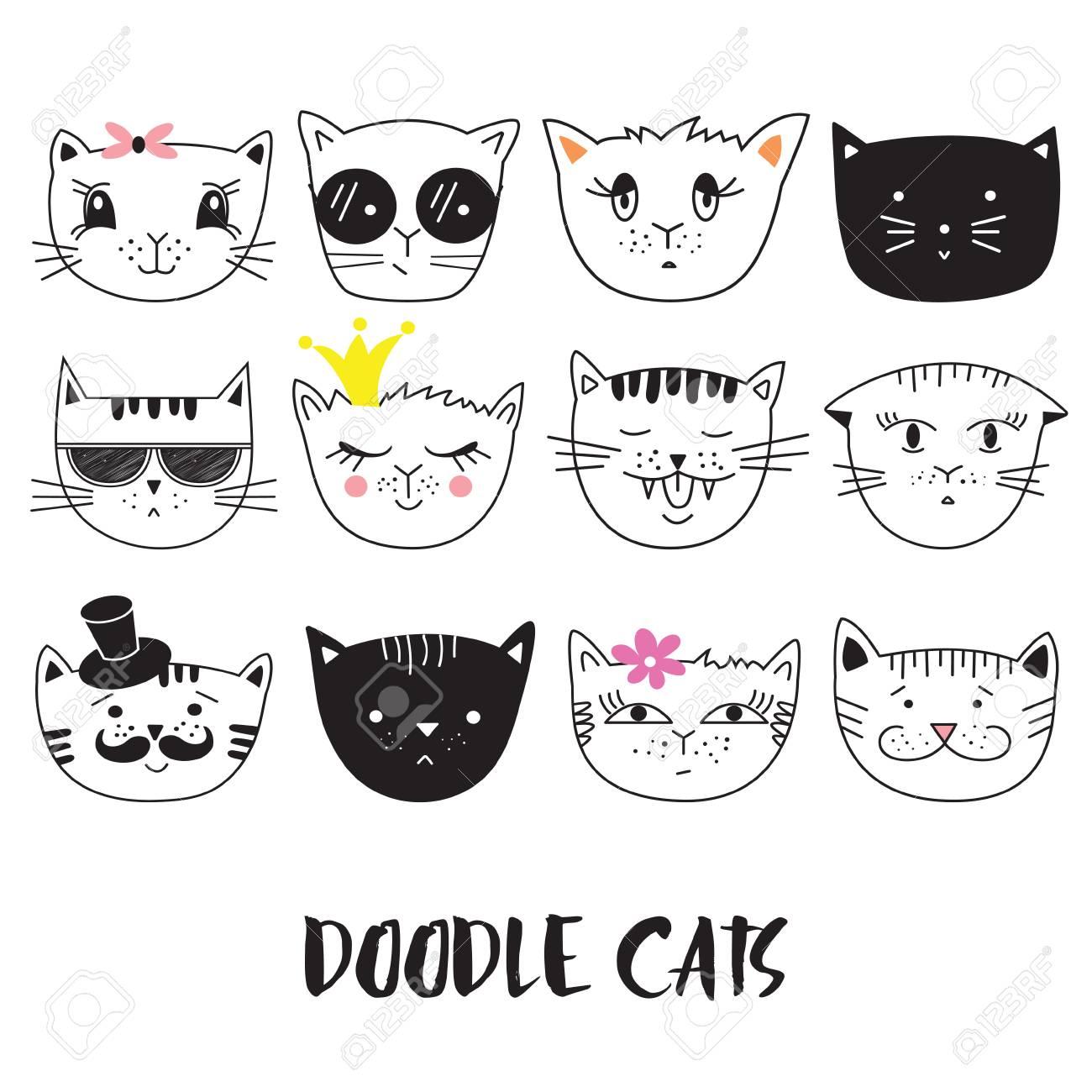 Vettoriale Gatti Serie Di Simpatici Doodle Può Essere Utilizzato