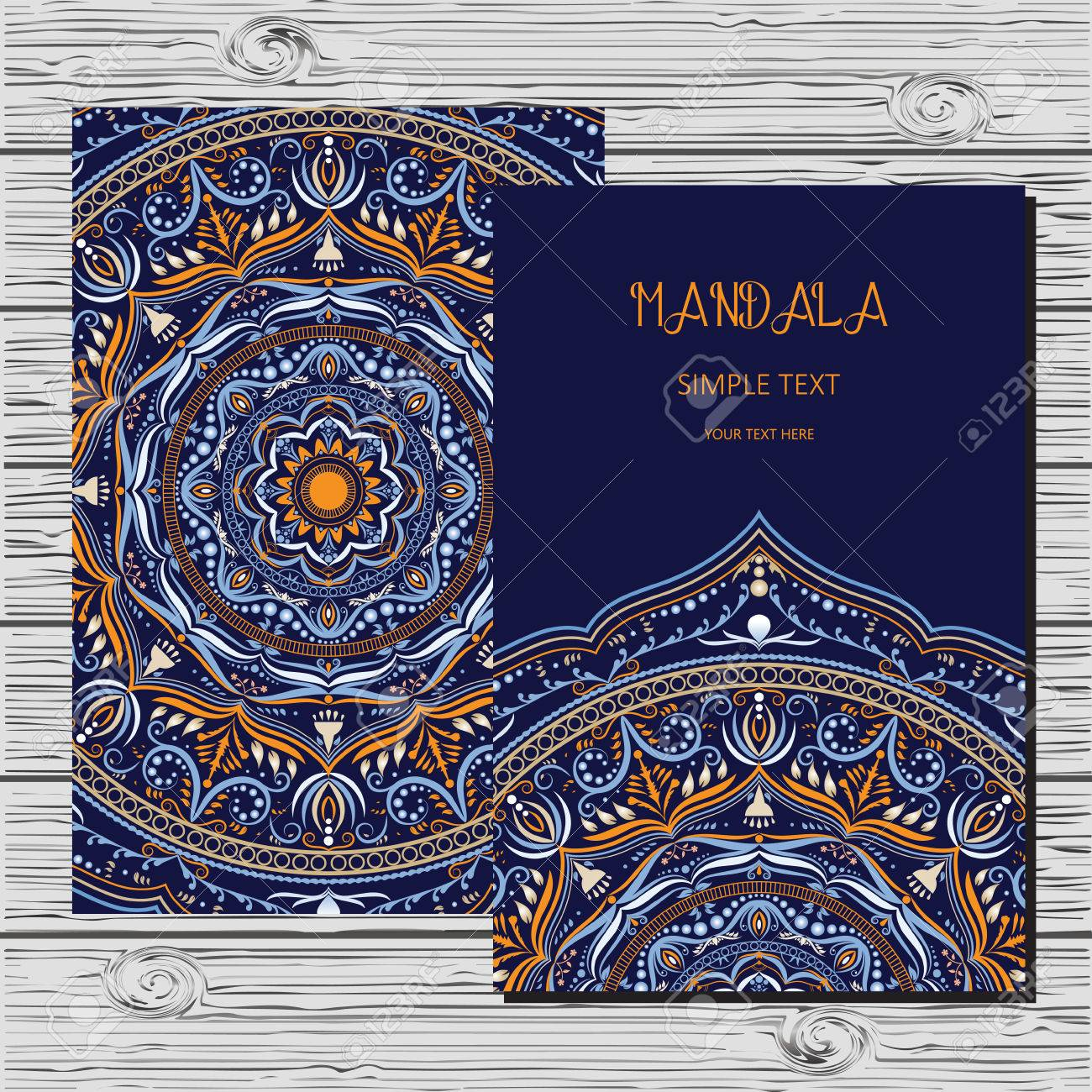 Vector Flyer Template With Hand Drawn Mandala Outline Floral - Save the date flyer template free