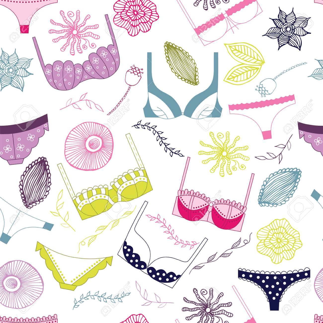 f349670f72 Diseño de fondo de la ropa interior. Ilustración de vector femenino de moda.  Elemento