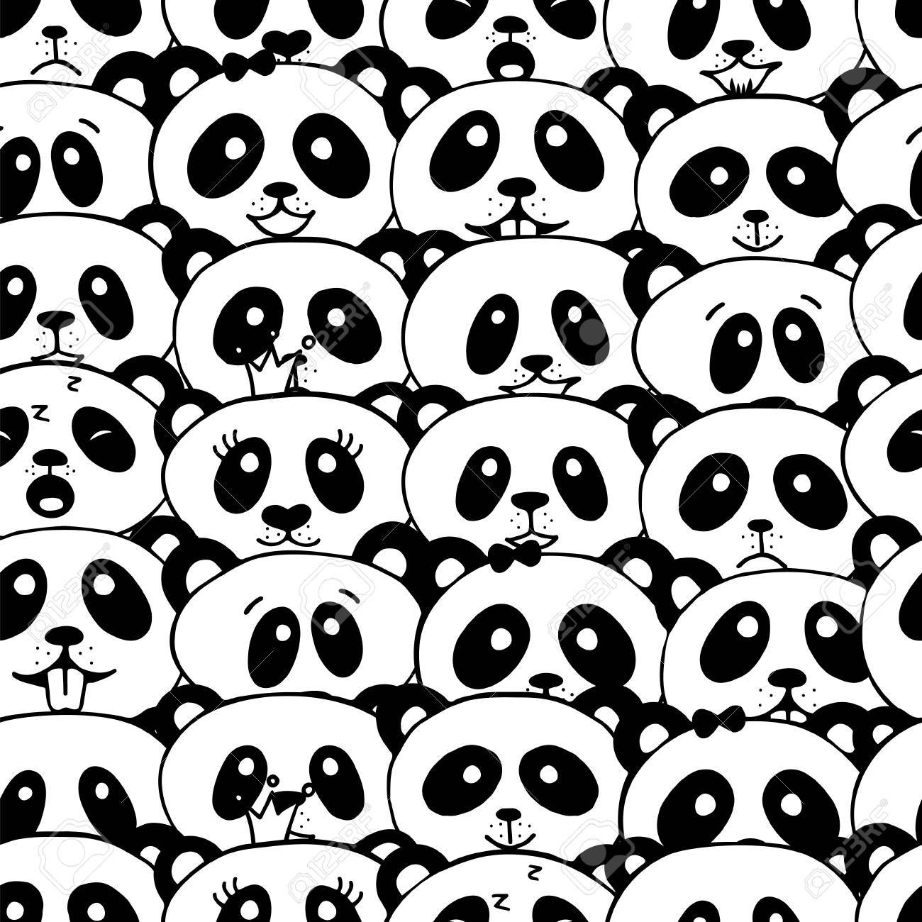 Patrón Sin Costuras Con Panda. Linda Panda Cara Fondo De Pantalla De ...