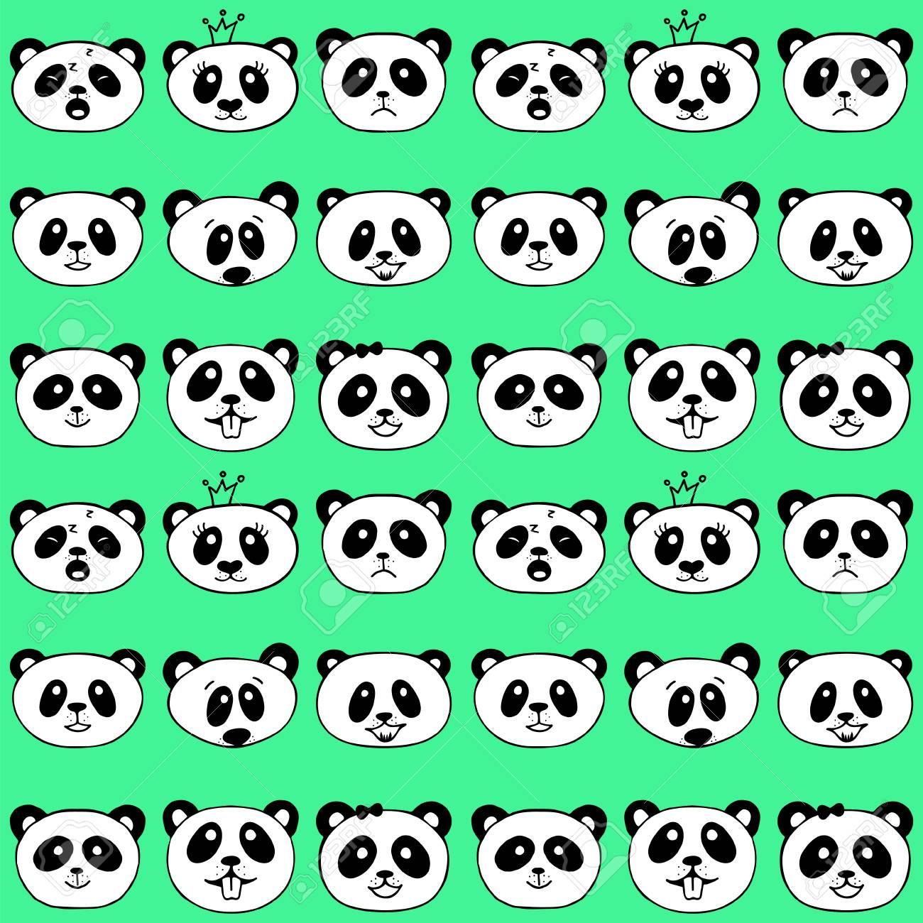 Seamless pattern with panda. Cute panda face. Seamless cartoon wallpaper. Vector illustration.