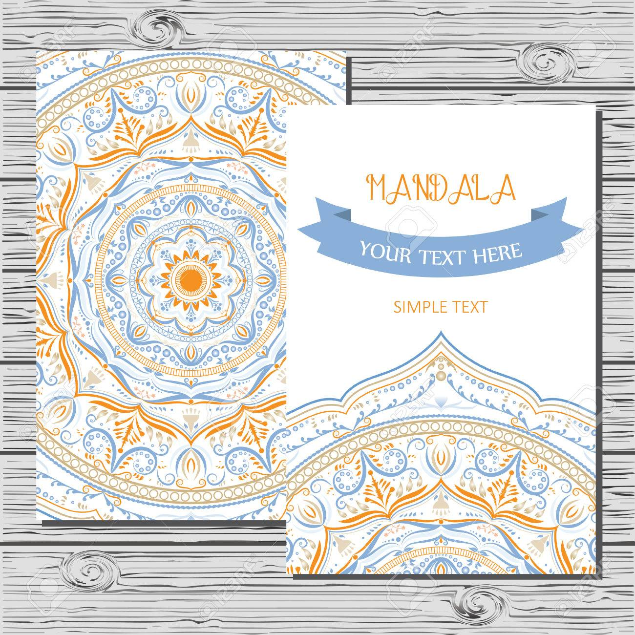 vector flyer template with hand drawn mandala outline floral