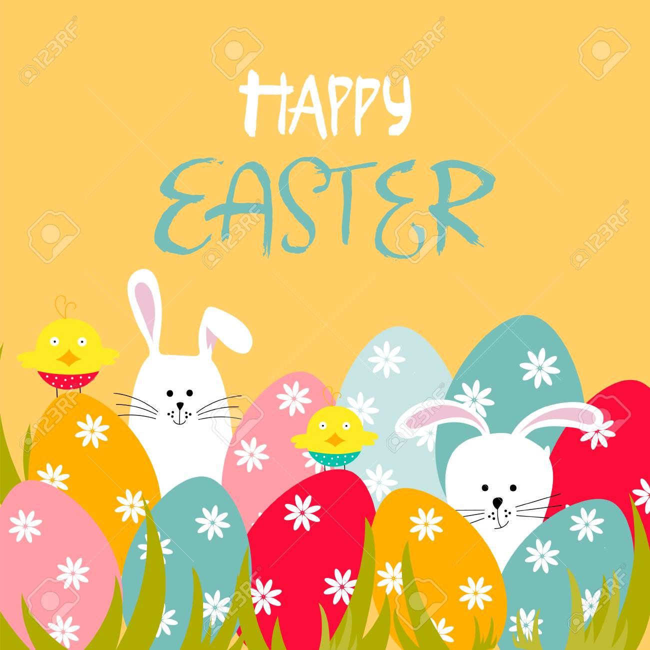 Easter Greeting Card With Eggs Chickens Bunnies And Lettering