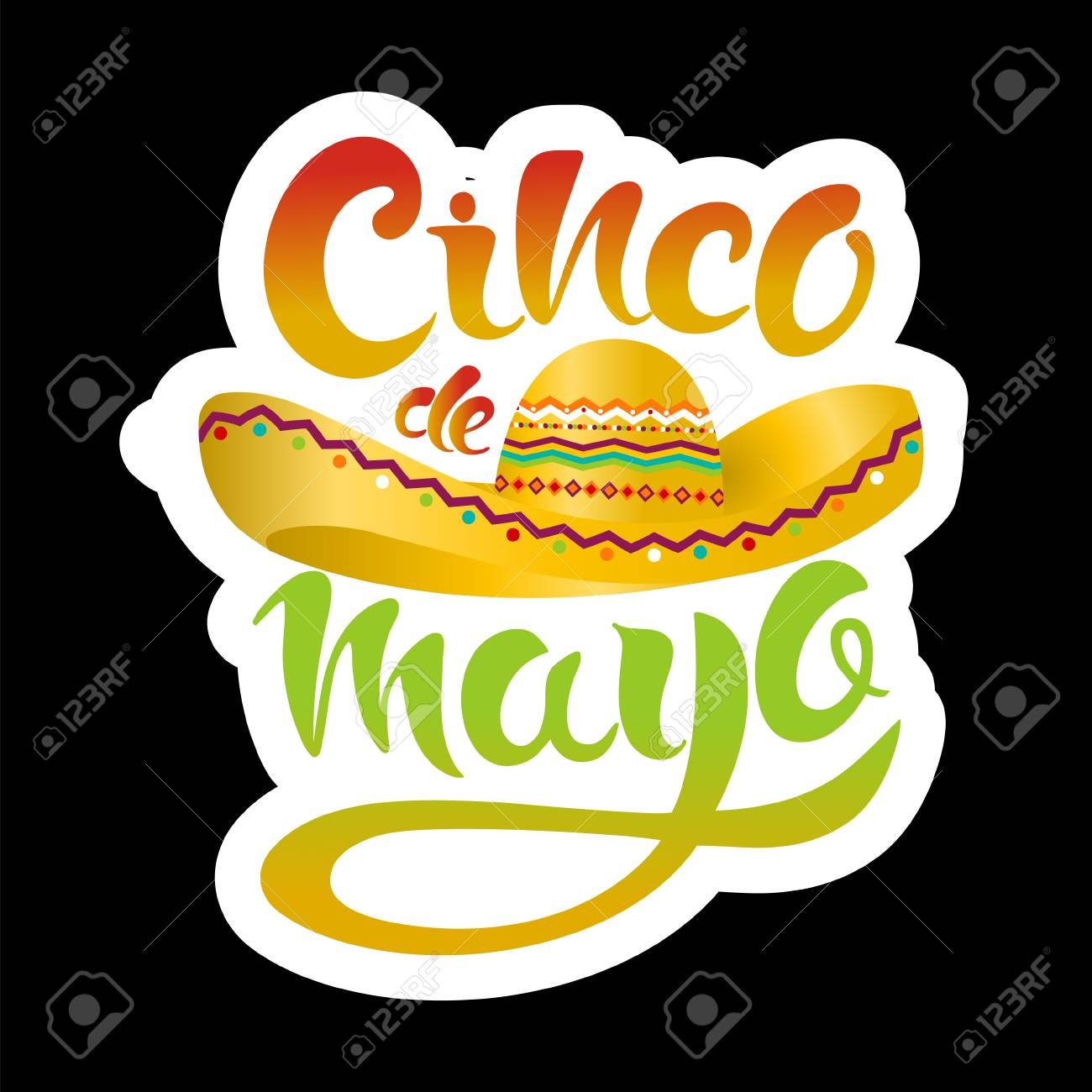 cinco de mayo poster template with sombrero on black background