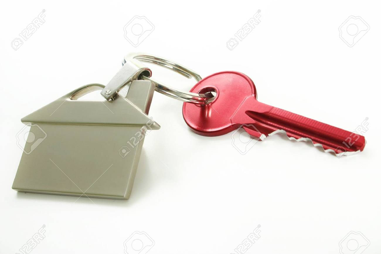 view of red key with house figure on the white Stock Photo - 1748376