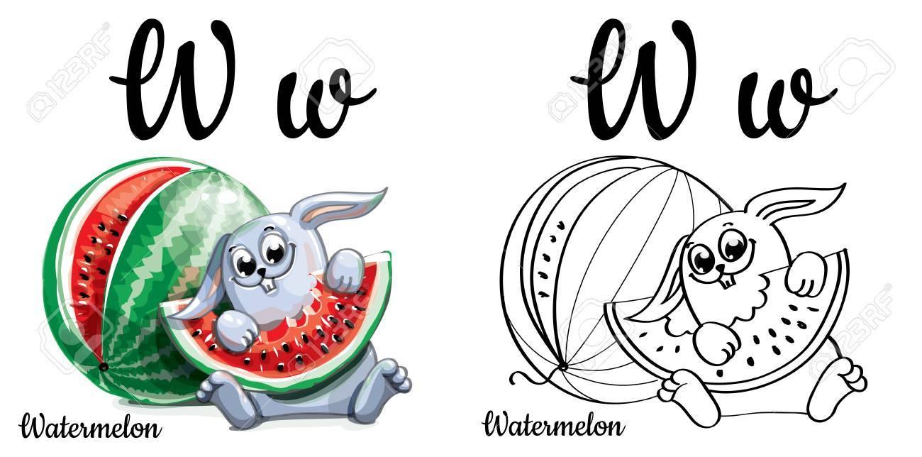 Kleurplaten Letter W.Watermelon Alphabet Letter W Coloring Page