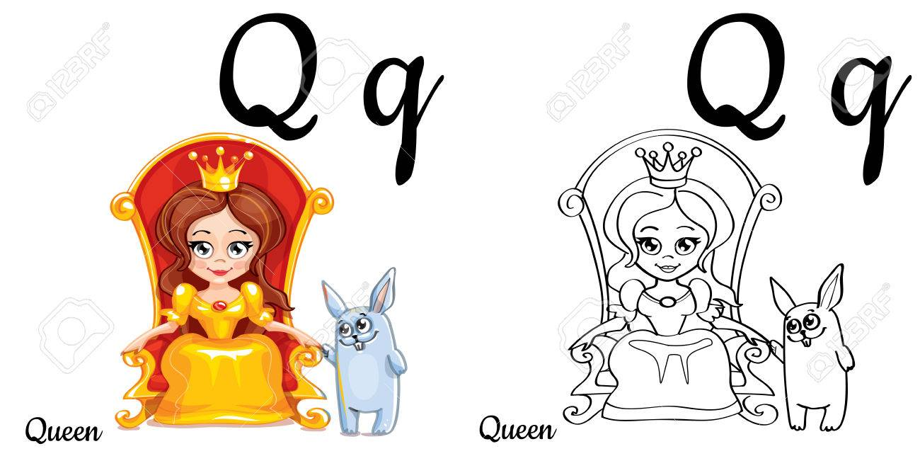 Queen. Vector Alphabet Letter Q, Coloring Page Royalty Free Cliparts ...