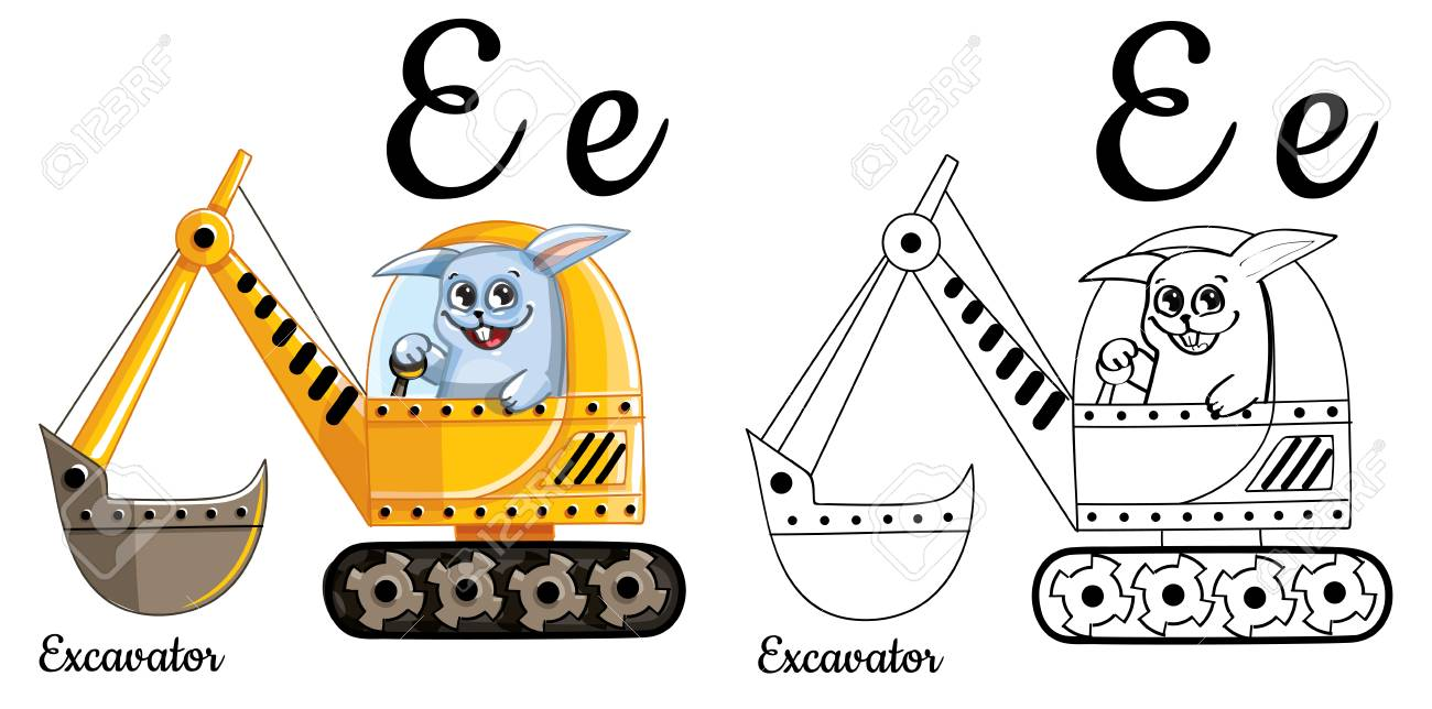 Excavator Vector Alphabet Letter E Coloring Page Royalty Free