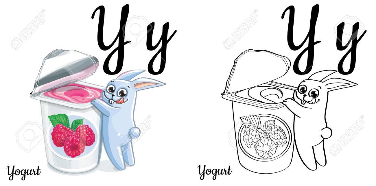 yogurt vector alphabet letter y coloring page royalty free