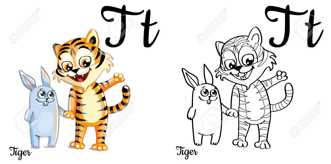 Vector Alphabet Letter T Coloring Page Stock