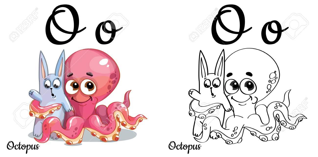 Pulpo. Vector Alfabeto Letra O, Página Para Colorear Ilustraciones ...