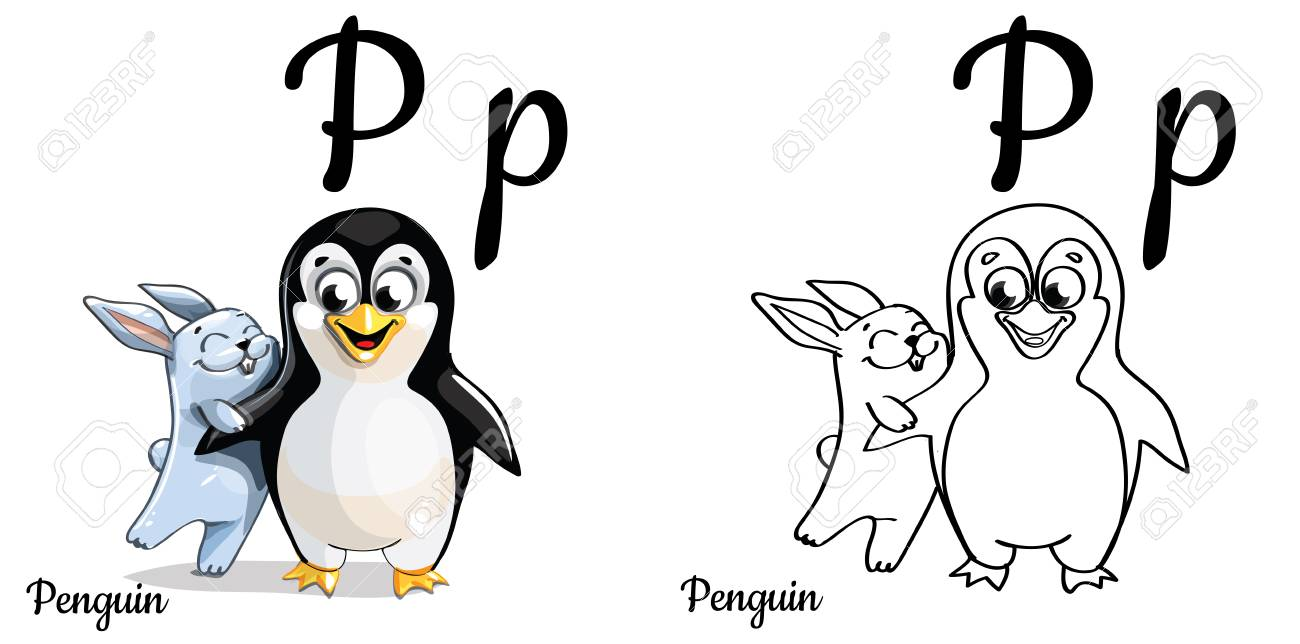 Penguin Vector Alphabet Letter P Coloring Page Stock