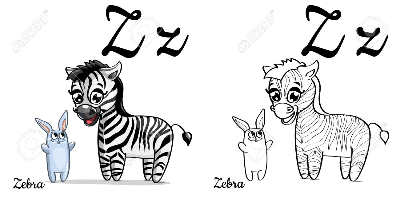 Zebra. Vector Alphabet Letter Z, Coloring Page Royalty Free Cliparts ...
