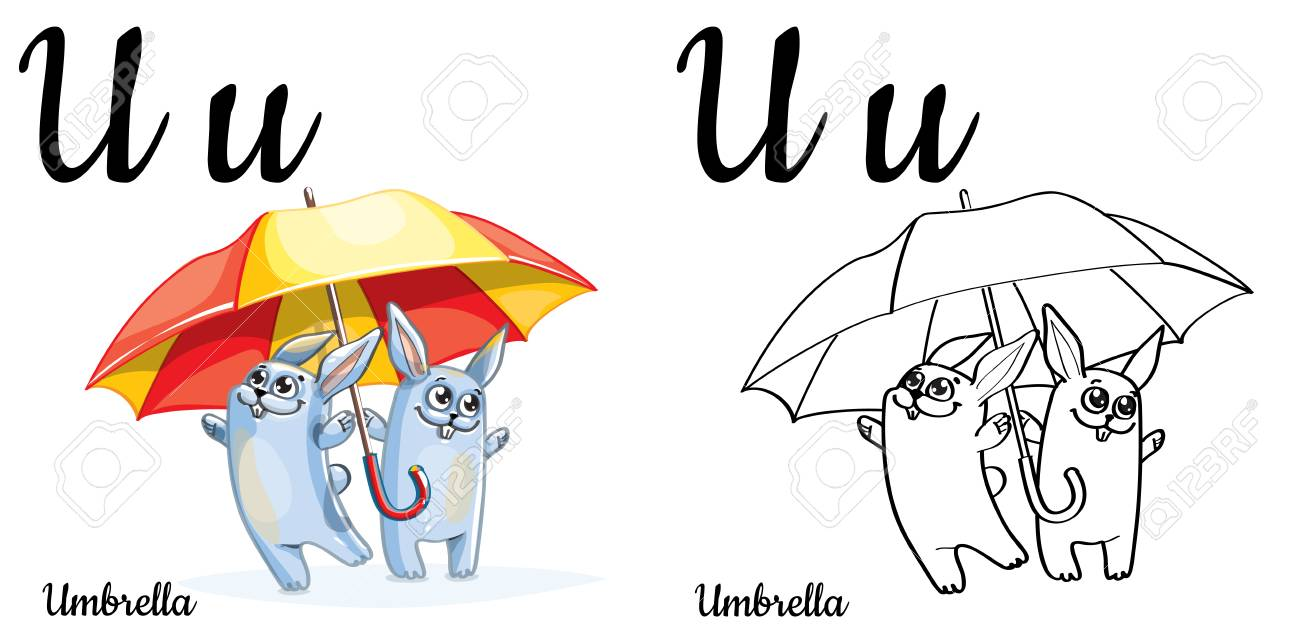 Umbrella. Vector Alphabet Letter U, Coloring Page Royalty Free ...