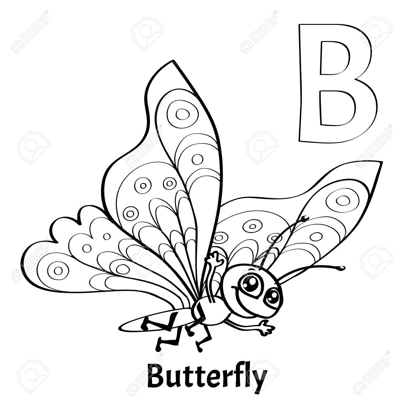 Vector Alphabet Letter B Coloring Page Butterfly Stock