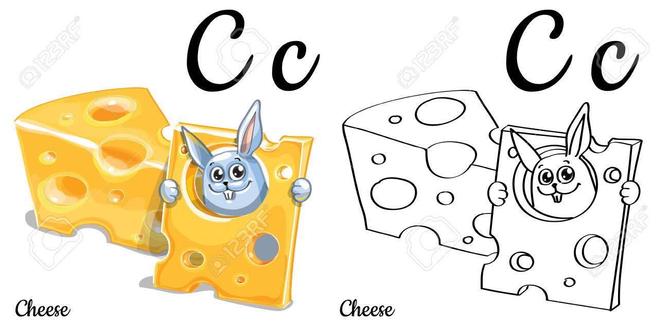Queso. Vector Alfabeto Letra C, Página Para Colorear Ilustraciones ...