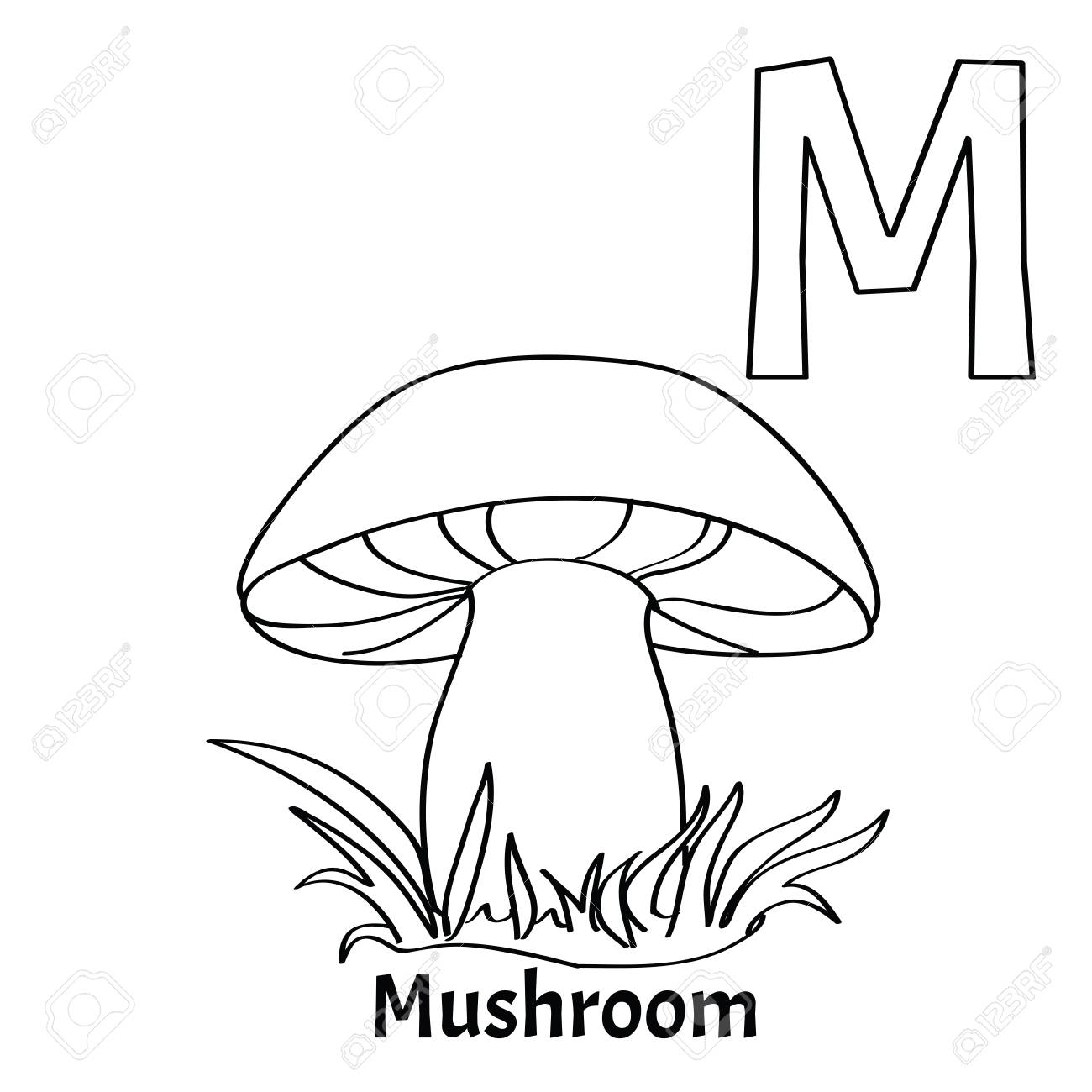 Vector Alphabet Letter M Coloring Page Mushroom Royalty Free