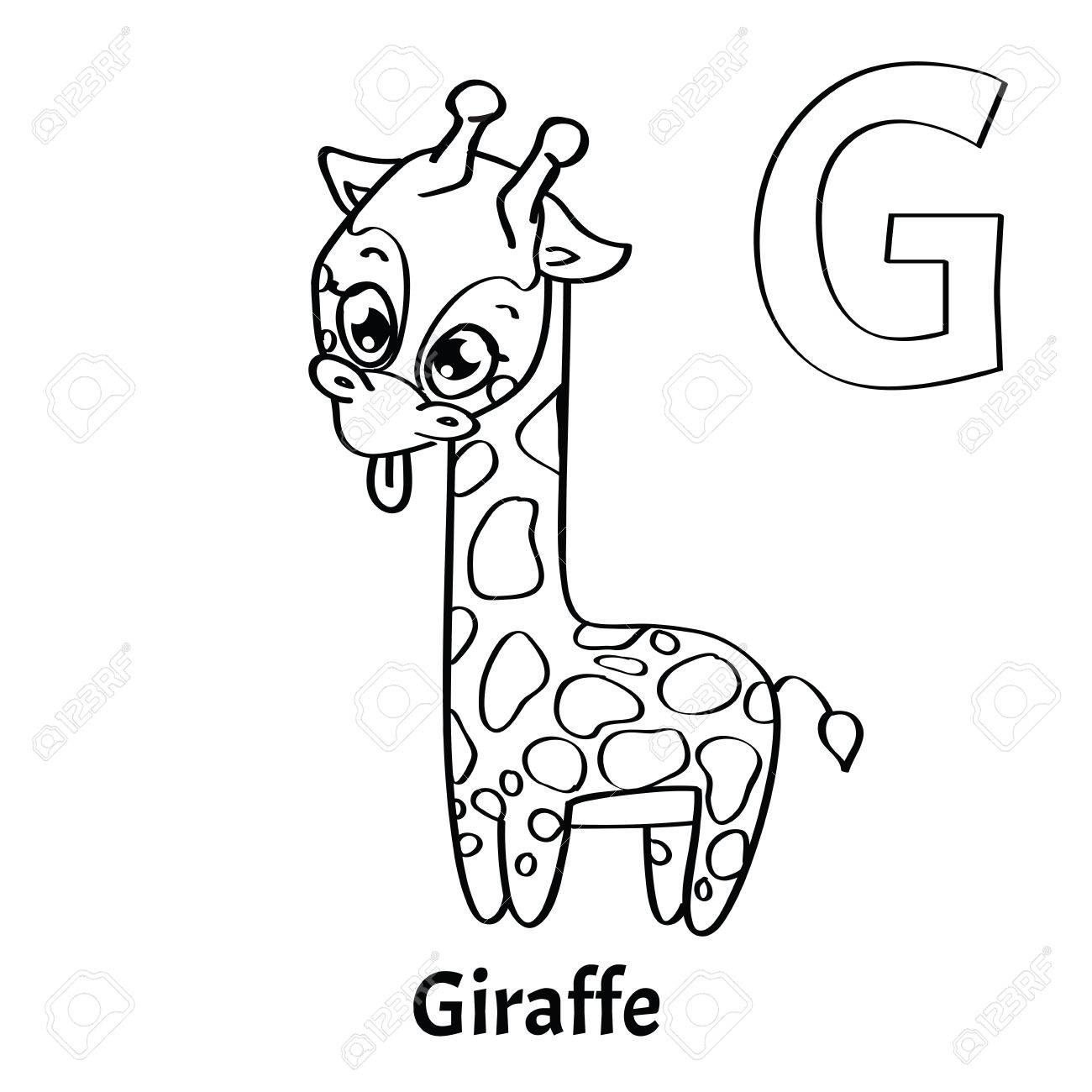 Vector Alphabet Letter G, Coloring Page. Giraffe Royalty Free ...