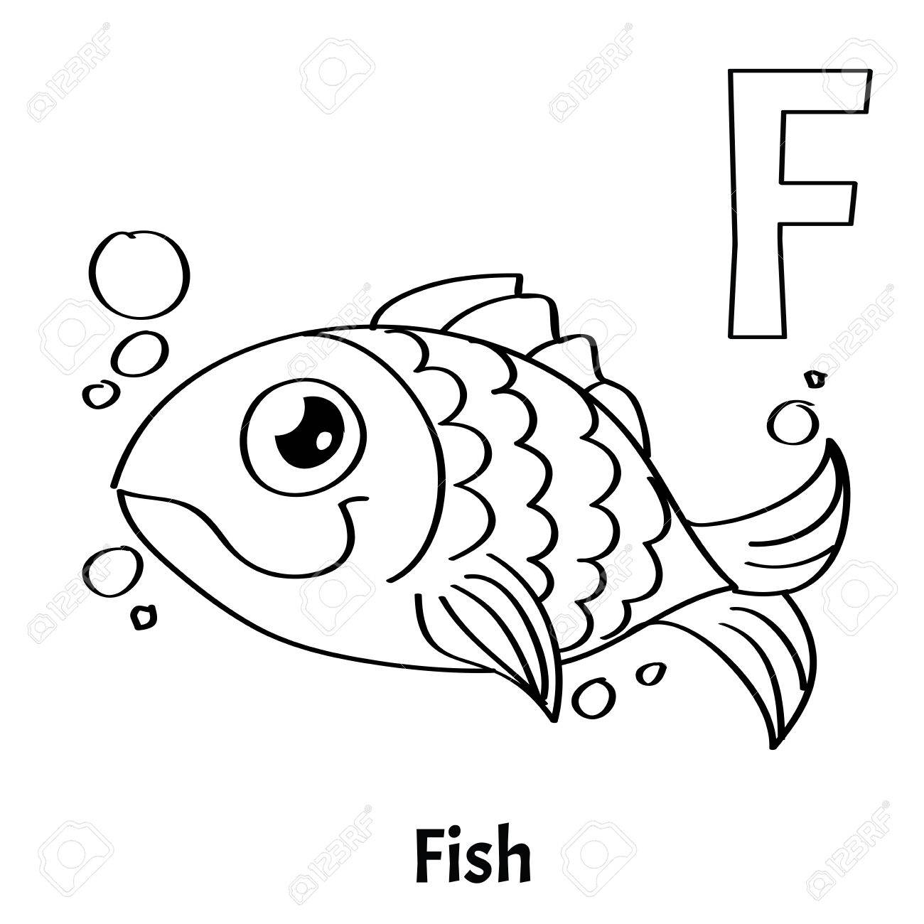 Vector Alphabet Letter F, Coloring Page. Fish. Stock Vector   85803021