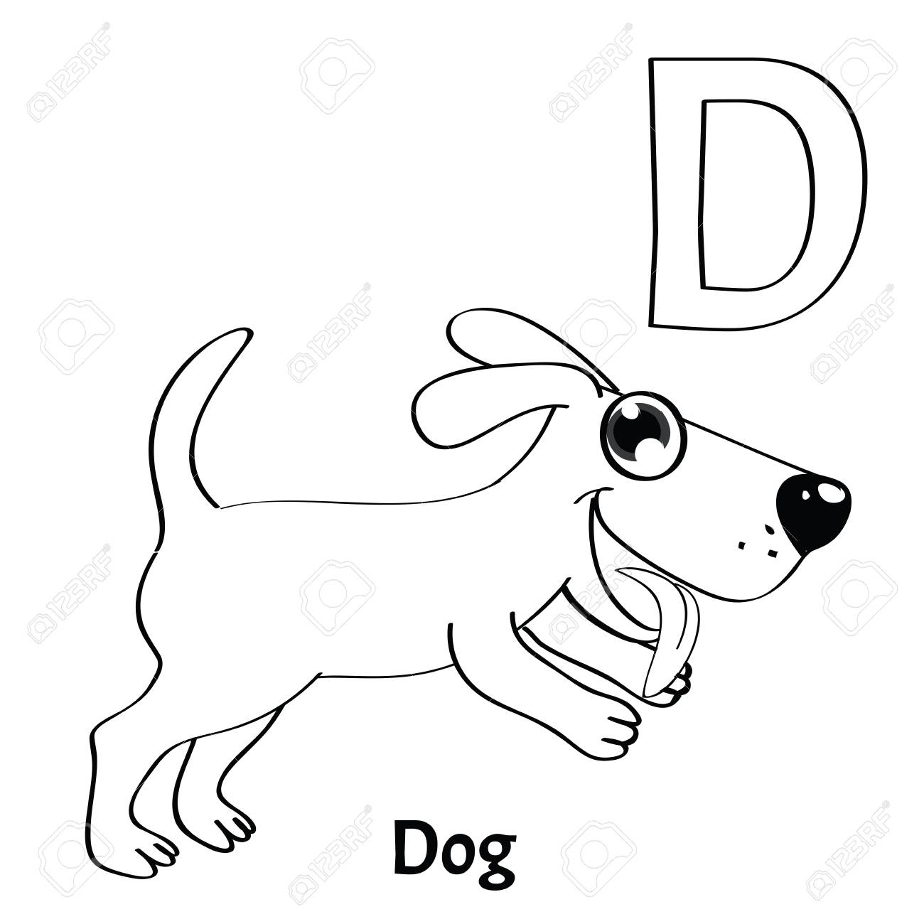 Vector Alphabet Letter D Coloring Page Dog Royalty Free Cliparts