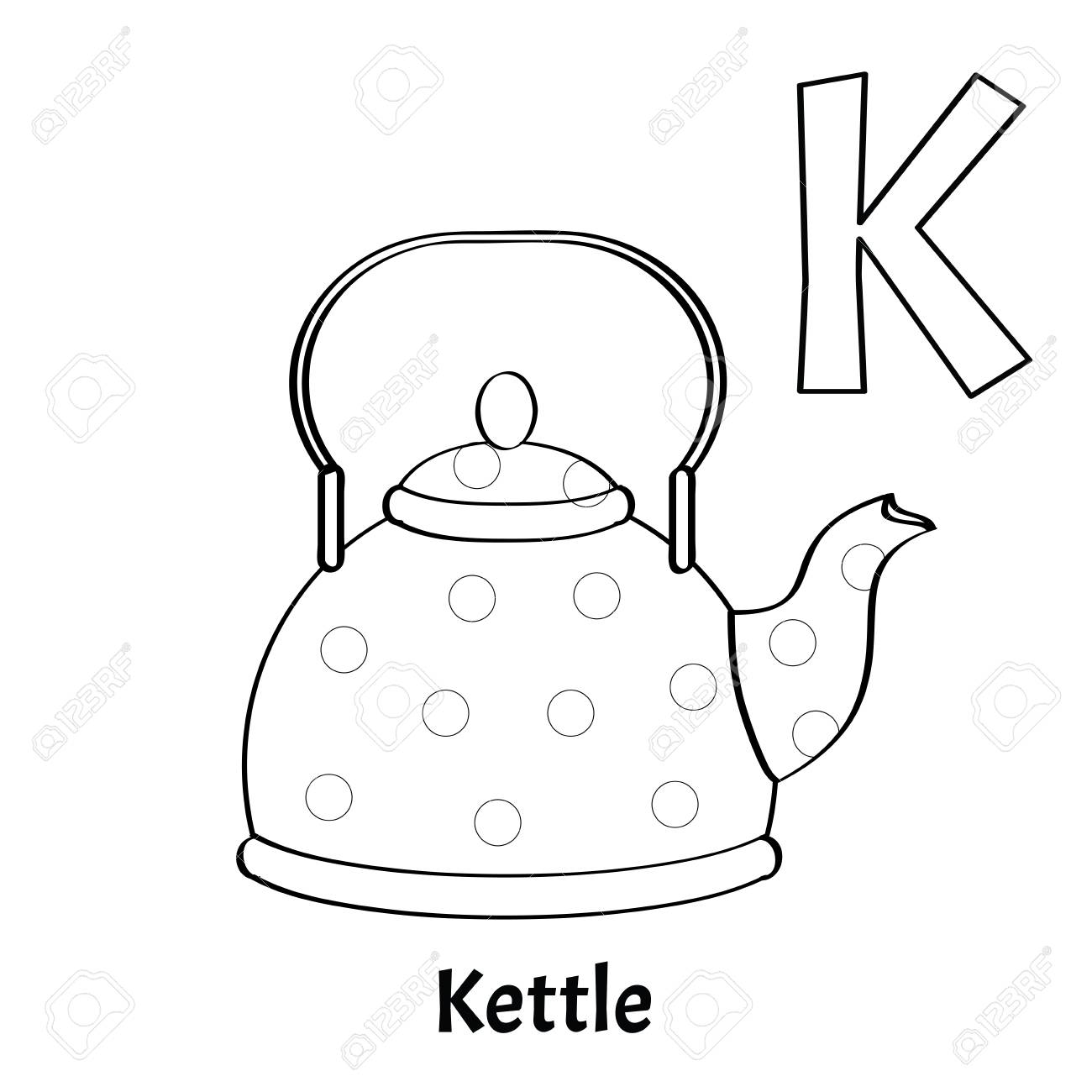 Vector Alphabet Letter K, Coloring Page. Kettle Royalty Free ...
