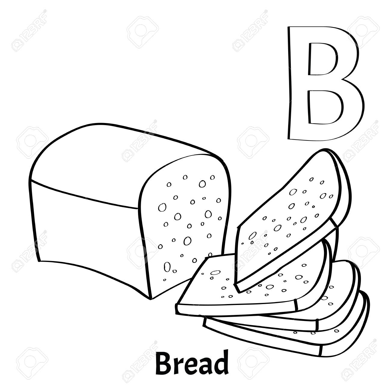 Vector Alphabet Letter B For Children Education With Bread Isolated