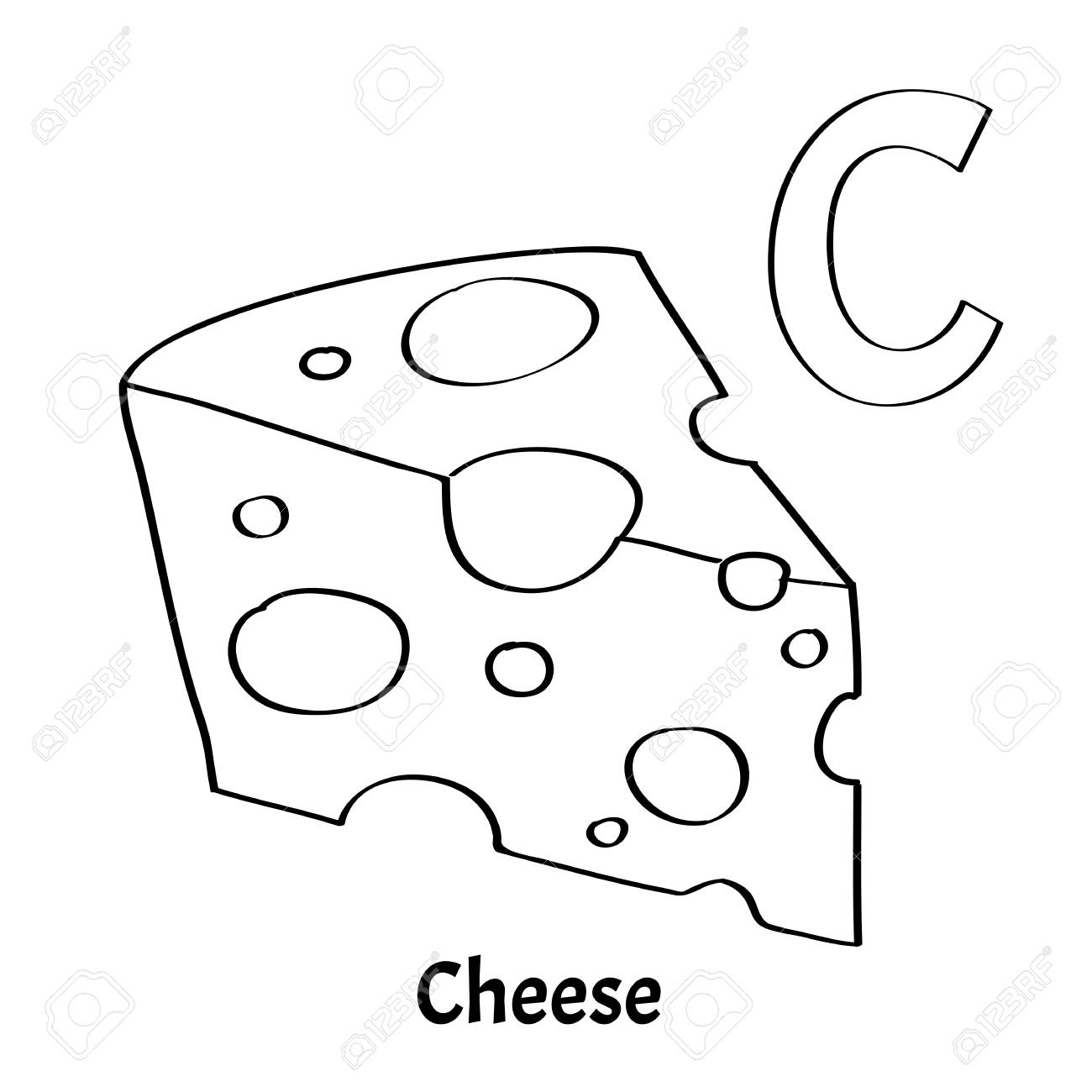 Vector alphabet letter C, coloring page. Cheese