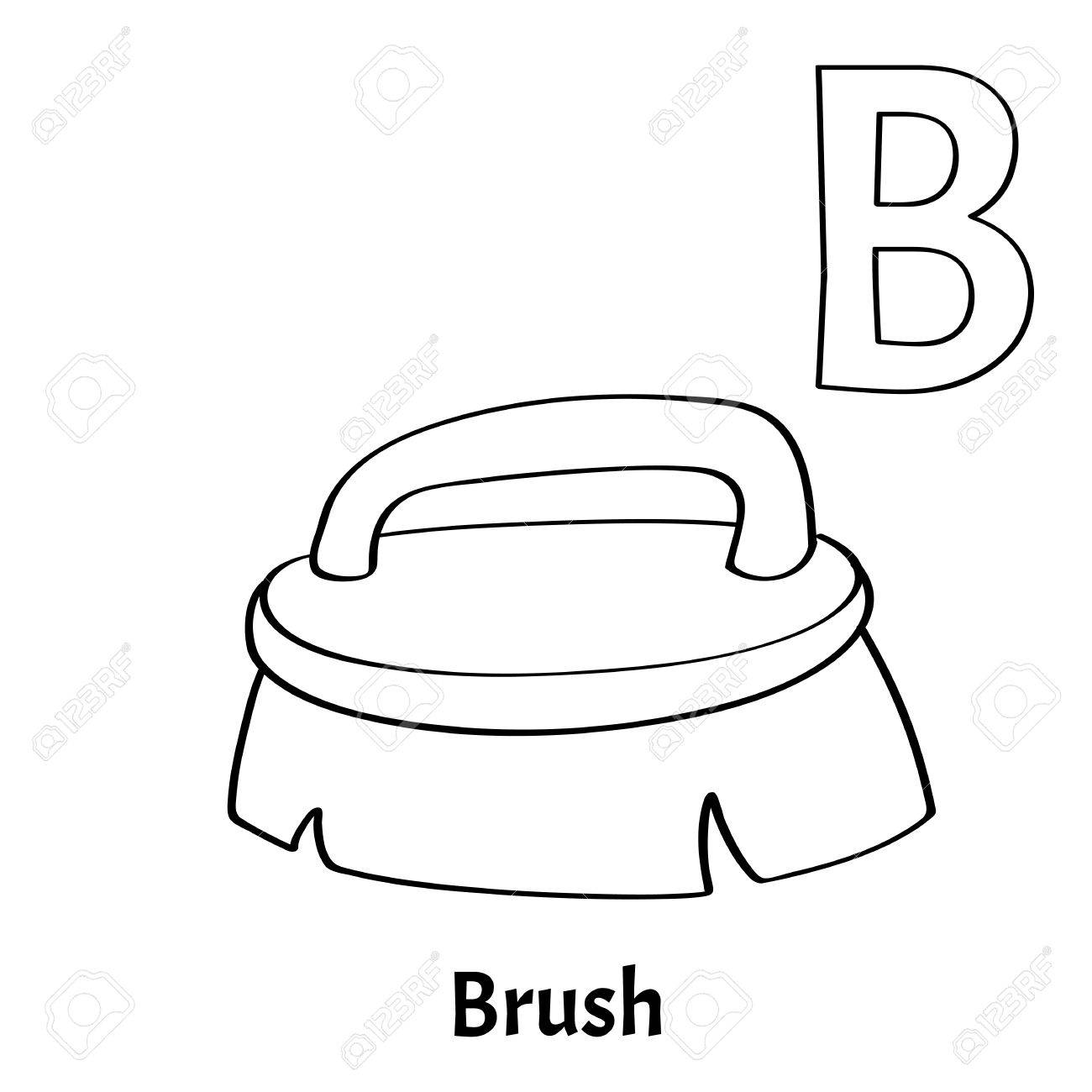 Vector Alphabet Letter B Coloring Page Brush Stock