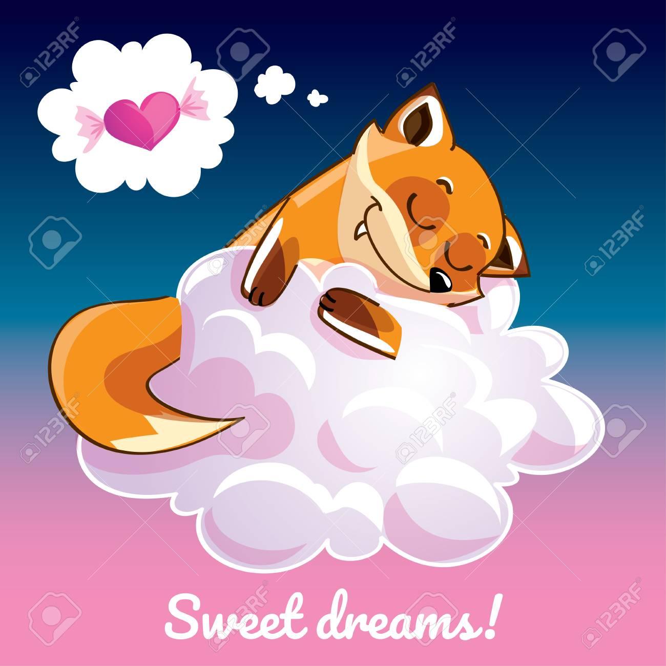 Greeting card with a cartoon fox on the cloud - 89334157