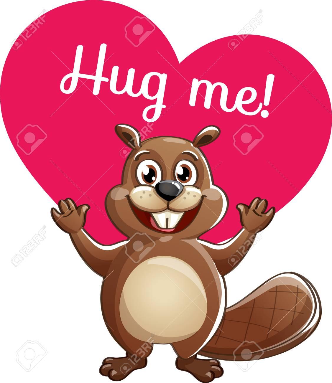 Cartoon beaver ready for a hug - 89317964