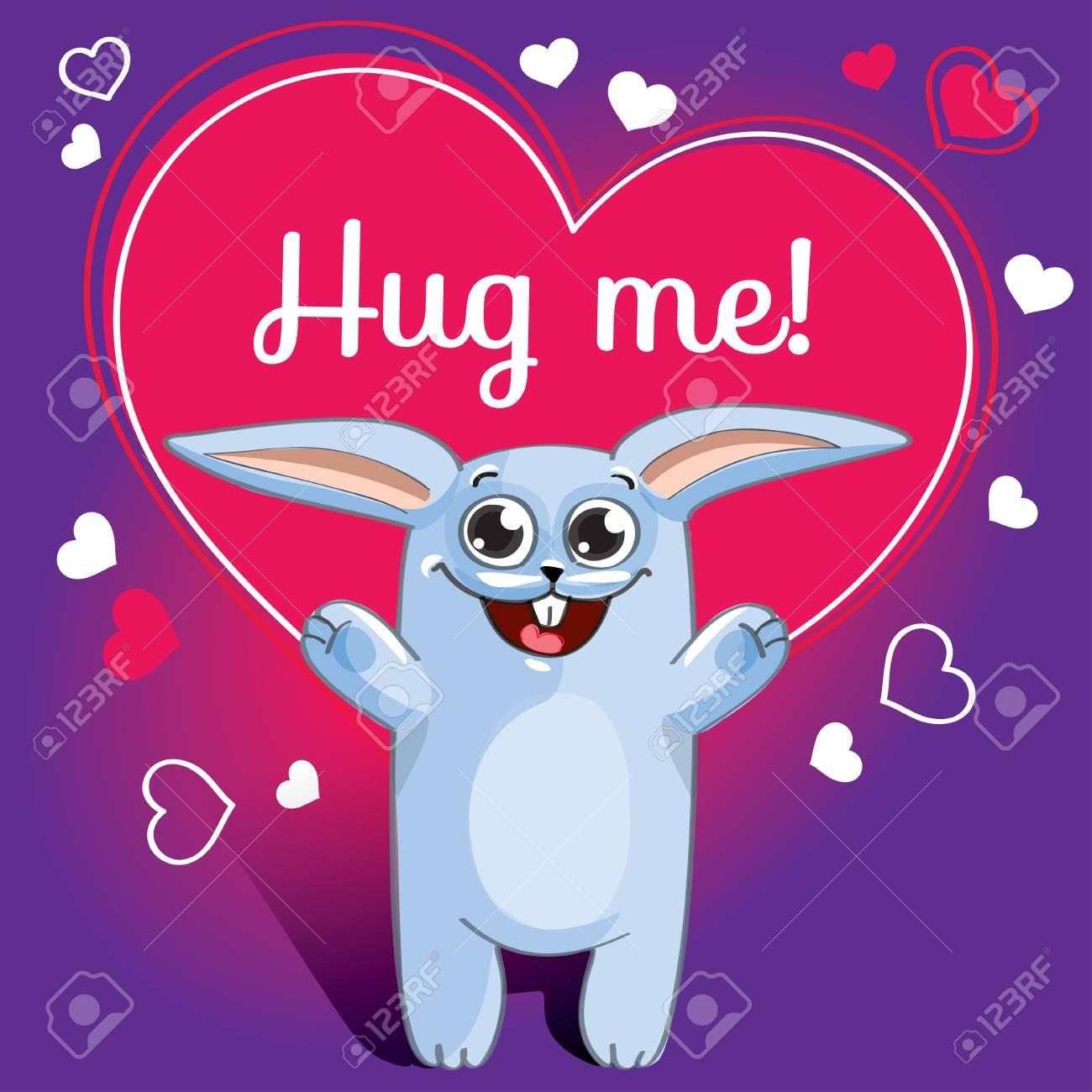 Cartoon rabbit ready for a hugging - 90576600