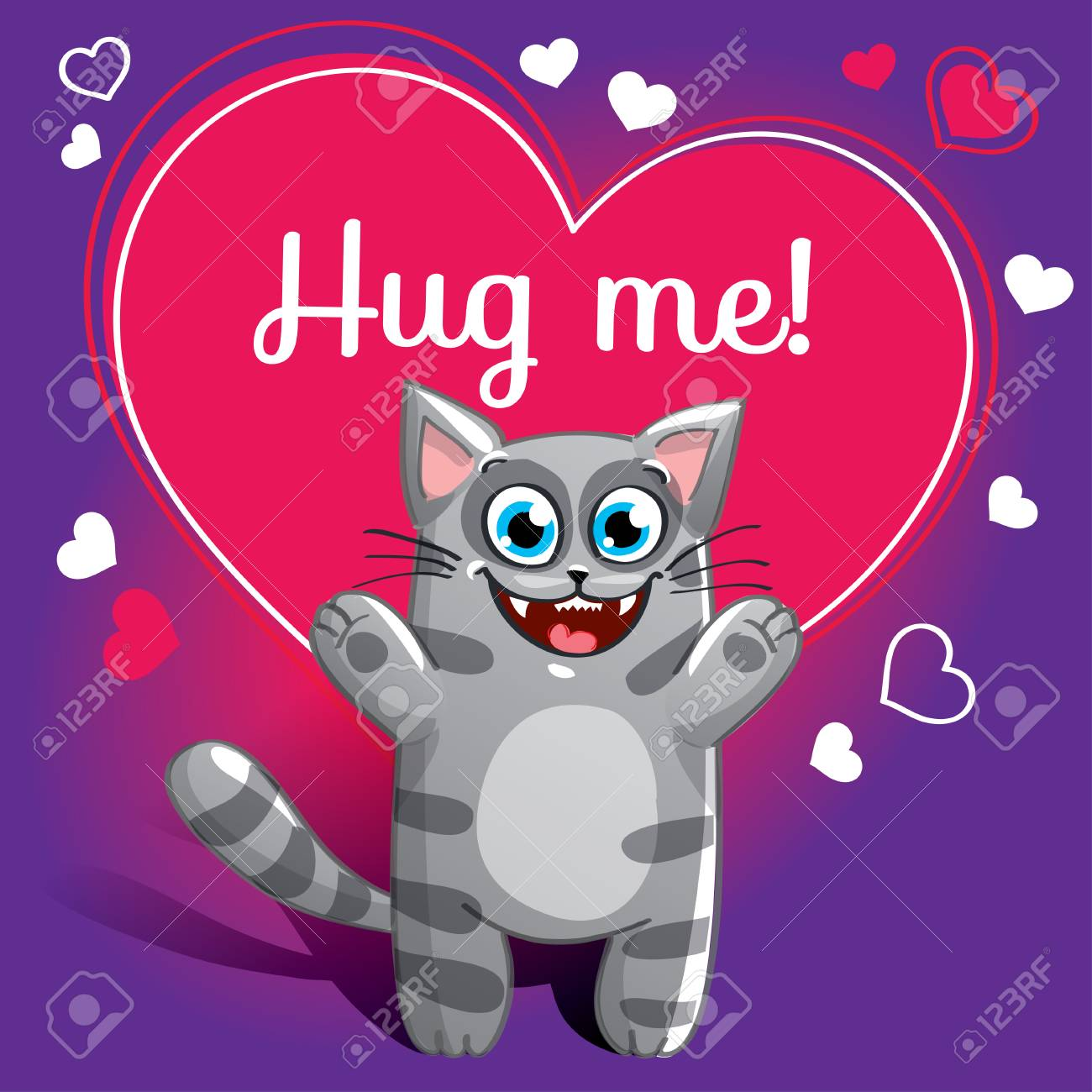 Cartoon cat ready for a hugging - 89472874