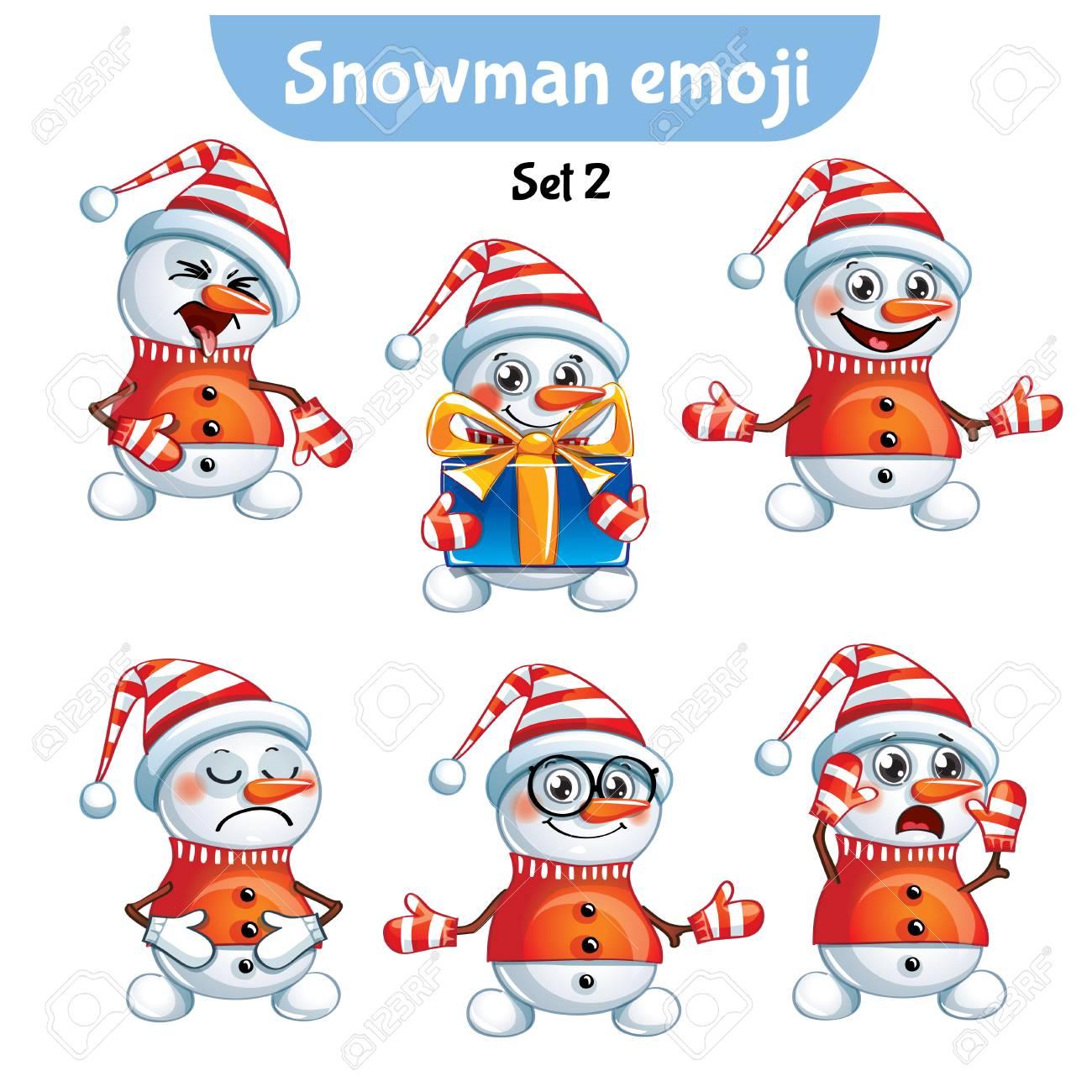 Vector set of cute snowman characters. Set 2 - 89923758